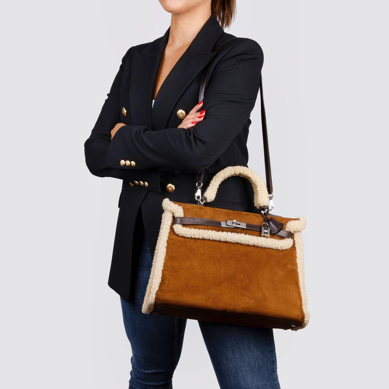 Hermès Ebene Barenia & Shearling Teddy Kelly 35cm For Sale 9