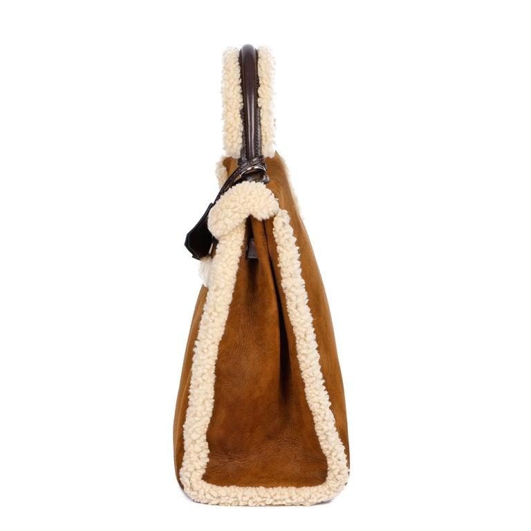 Hermès Ebene Barenia & Shearling Teddy Kelly 35cm In Excellent Condition For Sale In Bishop's Stortford, Hertfordshire