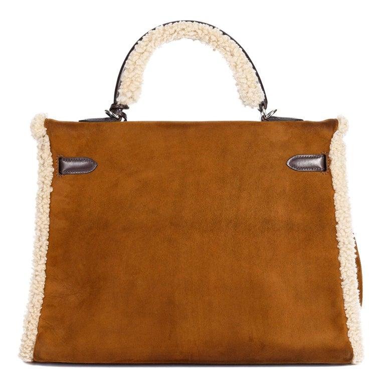 Women's Hermès Ebene Barenia & Shearling Teddy Kelly 35cm For Sale