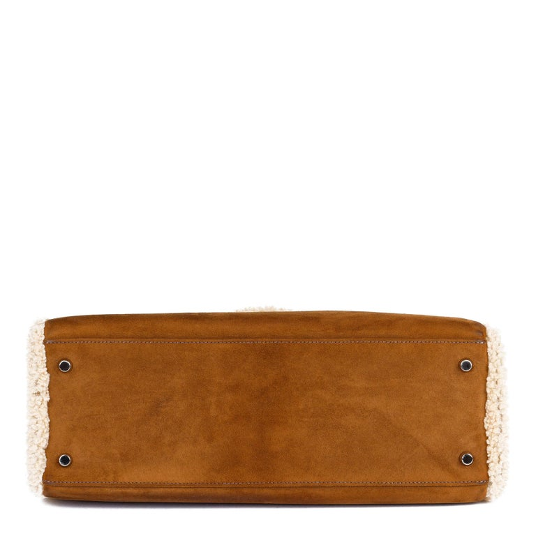 Hermès Ebene Barenia & Shearling Teddy Kelly 35cm For Sale 1