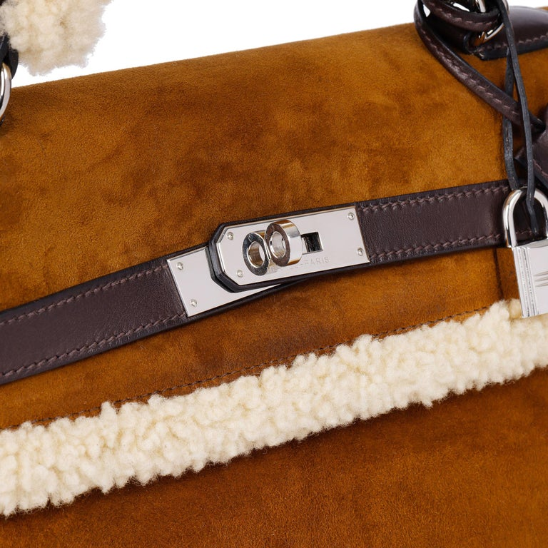 Hermès Ebene Barenia & Shearling Teddy Kelly 35cm For Sale 2