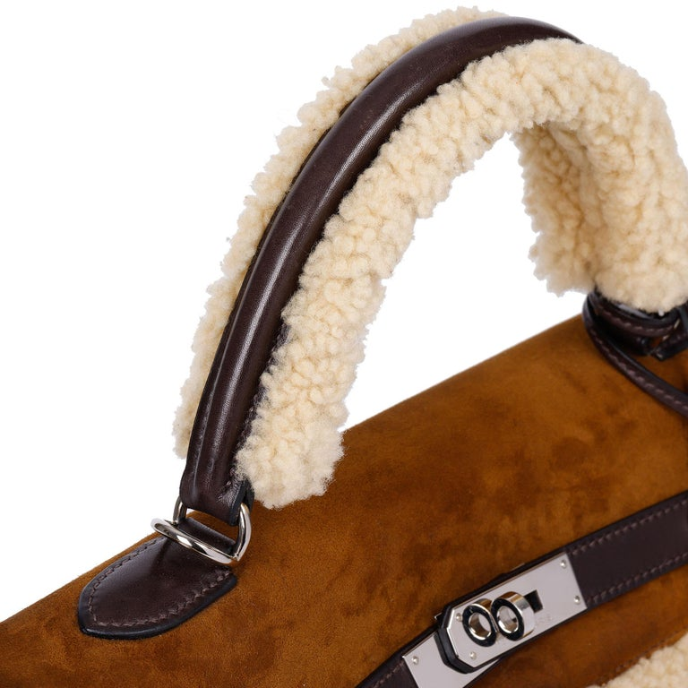 Hermès Ebene Barenia & Shearling Teddy Kelly 35cm For Sale 3