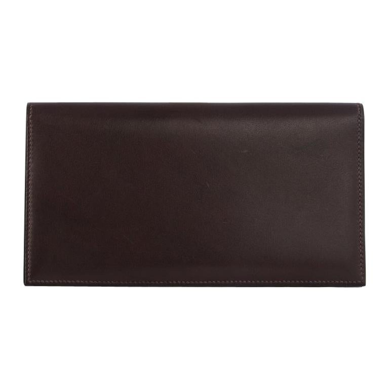 HERMES Ebene brown Swift leather CITIZEN LONG Wallet
