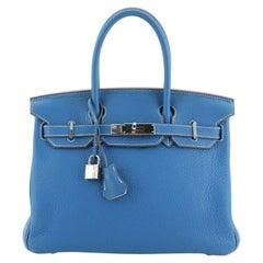 Hermes Eclat Birkin Handbag Clemence with Palladium Hardware 30