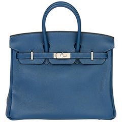 Hermès eep Blue Novillo Leather Birkin 25cm