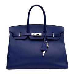HERMES Electric Blue 35 Birkin Bag