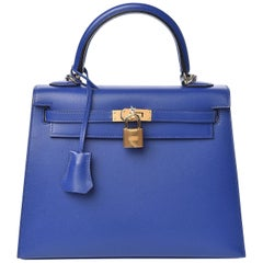 HERMES electric blue Bleu Electrique Tadelakt KELLY 25 SELLIER Bag