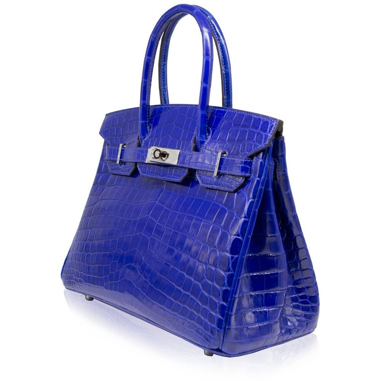 9c037dcf1745 Hermès Electric Blue Niloticus Crocodile 30cm Birkin Bag In Good Condition  For Sale In London