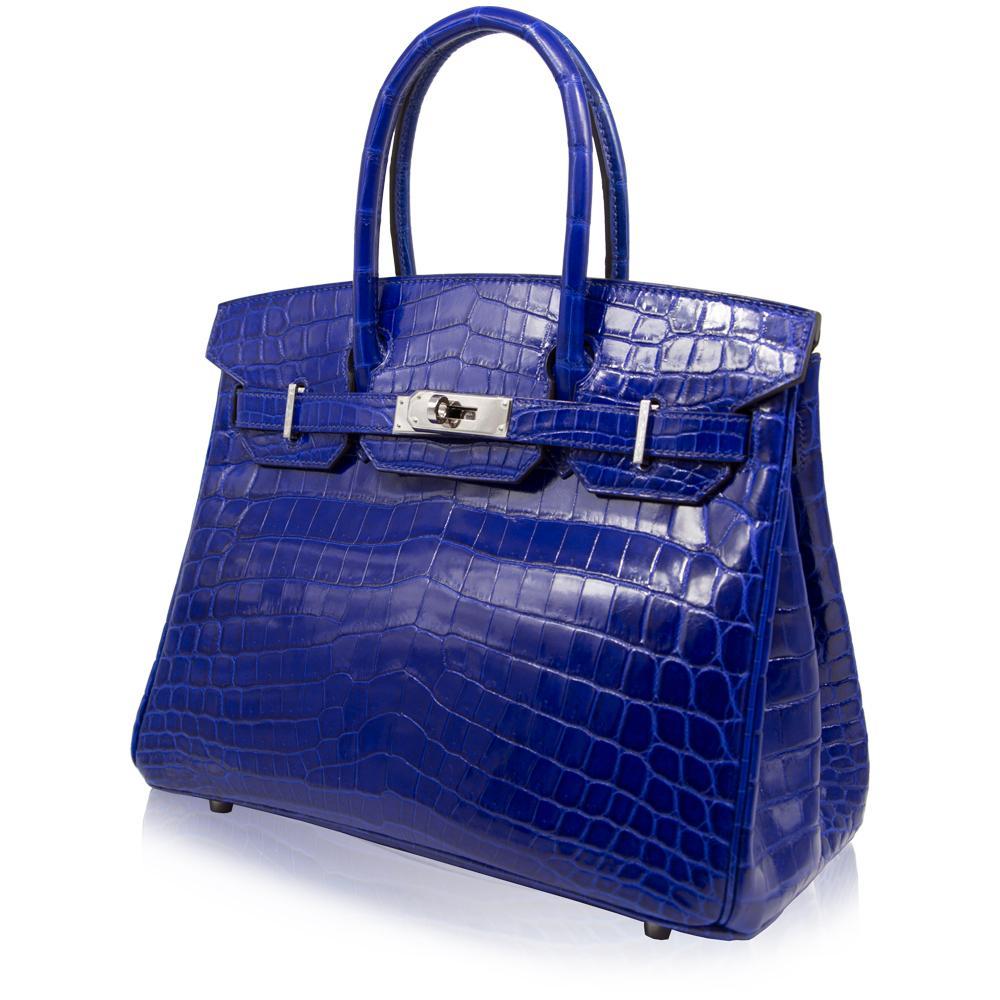 8c6a0c18c8 Hermès Electric Blue Niloticus Crocodile 30cm Birkin Bag at 1stdibs