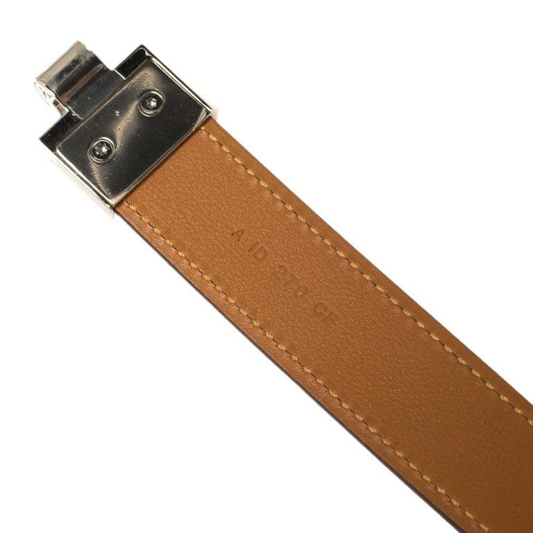 Hermes Electric Blue Veau Epsom Leather Charniere Belt S For Sale 1