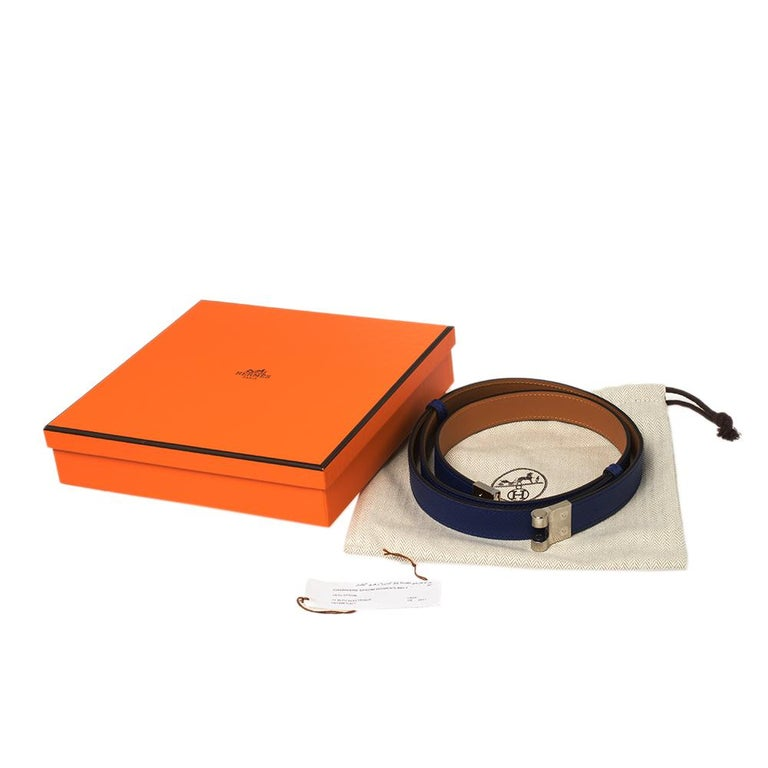 Hermes Electric Blue Veau Epsom Leather Charniere Belt S For Sale 2