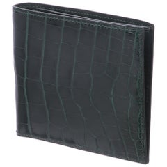Hermes Emerald Alligator Exotic Leather Men's Suit Bifold Bifold Pocket Wallet