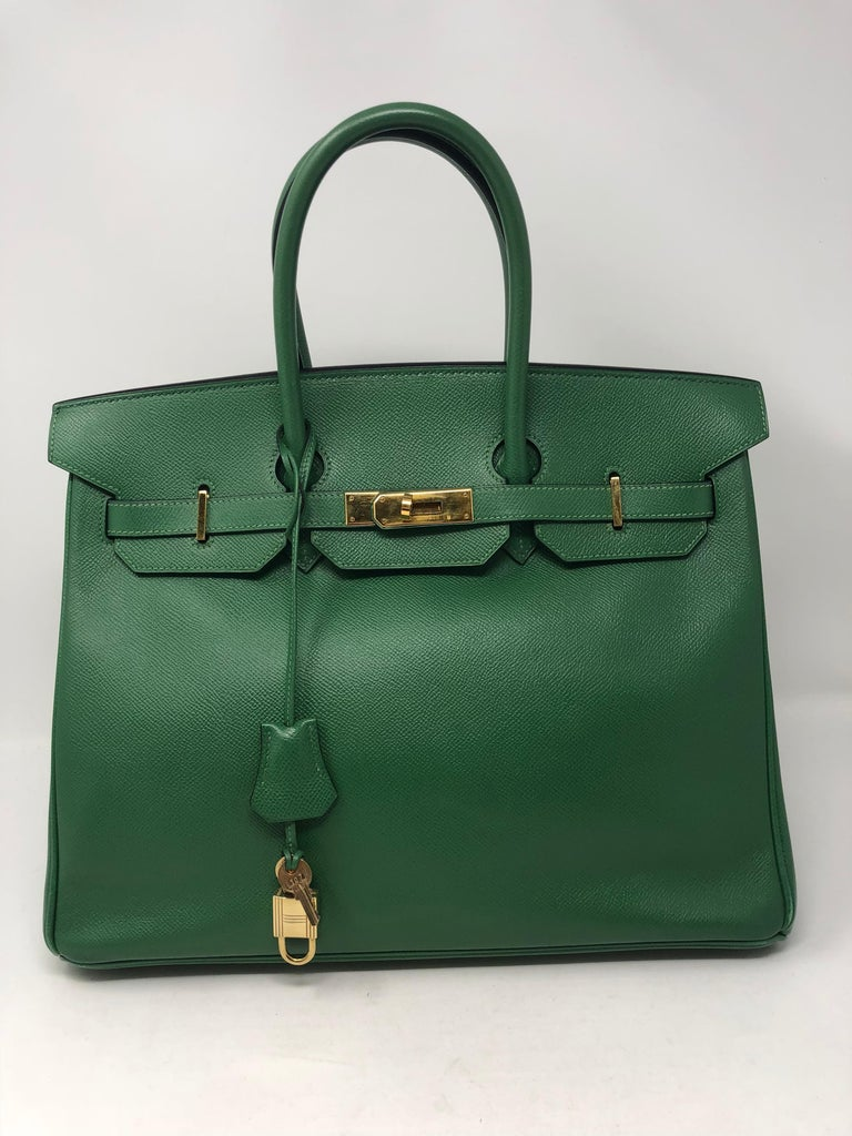 Hermes Emerald Green courchevel leather Gold hardware Birkin 35 Bag For Sale 12