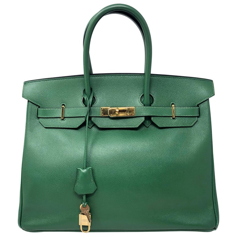Hermes Emerald Green courchevel leather Gold hardware Birkin 35 Bag For Sale