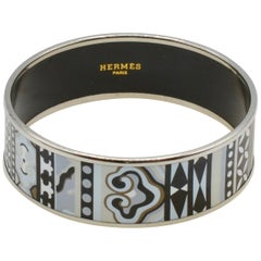 Hermès Enamel and Palladium Bangle Bracelet Blanc/Nior