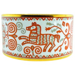 Hermes Enamel Bangle Bracelet, Extra Wide