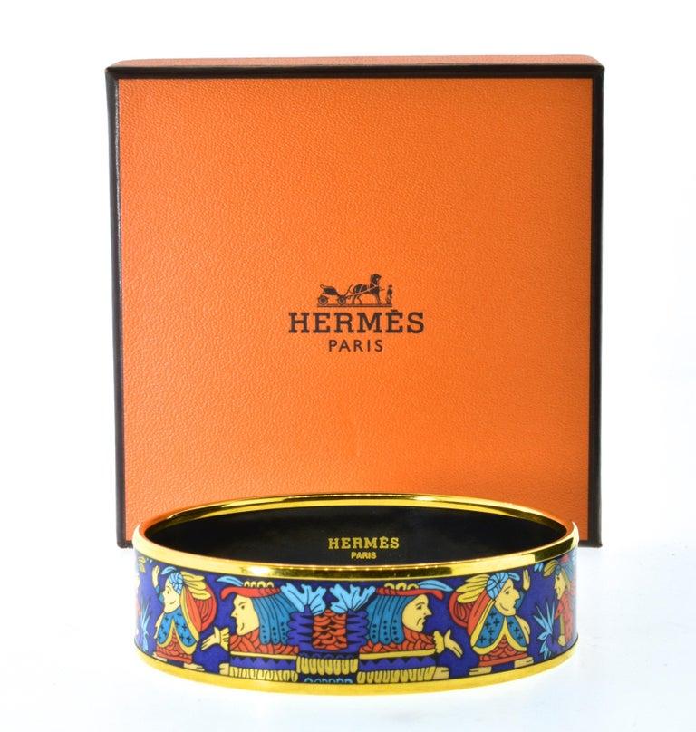 Hermes Enamel Bangle Bracelet For Sale 5