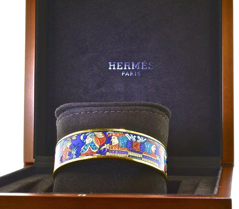 Hermes Enamel Bangle Bracelet For Sale 6