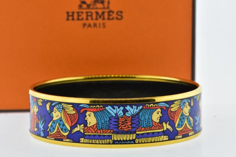 Women's or Men's Hermes Enamel Bangle Bracelet For Sale