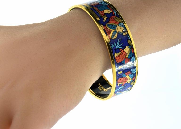 Hermes Enamel Bangle Bracelet For Sale 3