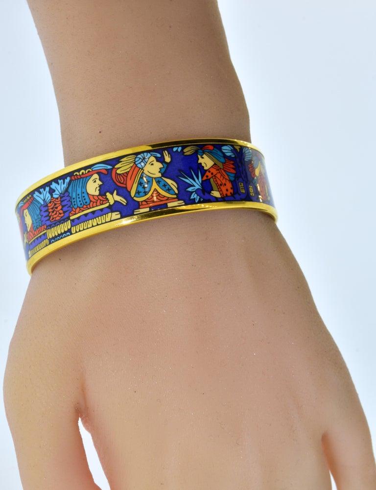 Hermes Enamel Bangle Bracelet For Sale 4