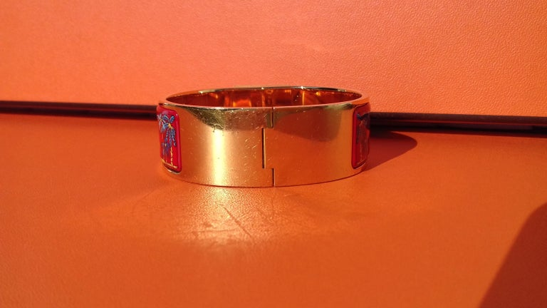 Hermès Enamel Bracelet Clic Clac Version Camels and Palm Trees Ghw PM For Sale 8