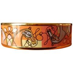 Hermès Enamel Bracelet Coup De Fouet Horse Orange Golden Hdw Wide Size 62 TPM