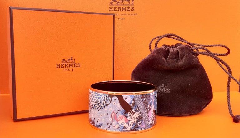 Hermès Enamel Bracelet Dans Un Jardin Anglais Shirley Rosé Ghw Size 65 GRAIL For Sale 8