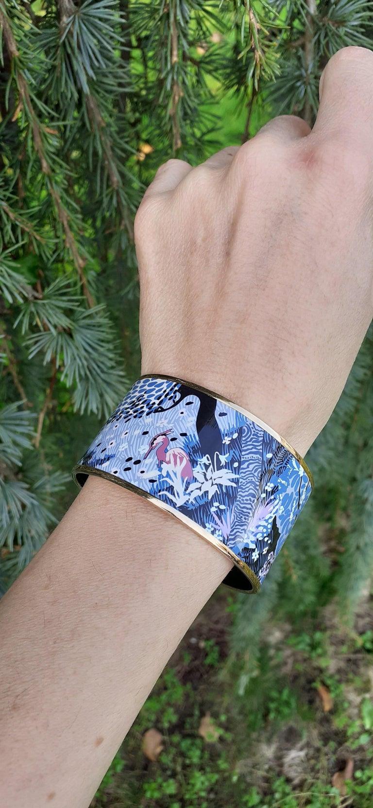 Hermès Enamel Bracelet Dans Un Jardin Anglais Shirley Rosé Ghw Size 65 GRAIL For Sale 9