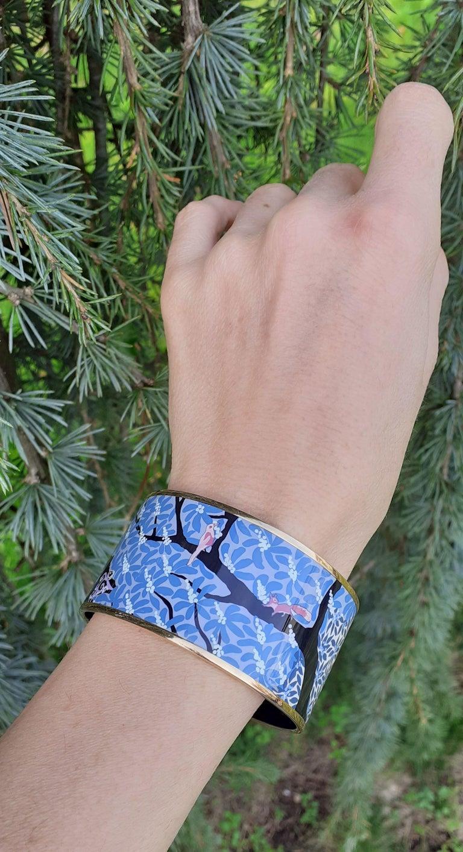 Hermès Enamel Bracelet Dans Un Jardin Anglais Shirley Rosé Ghw Size 65 GRAIL For Sale 10
