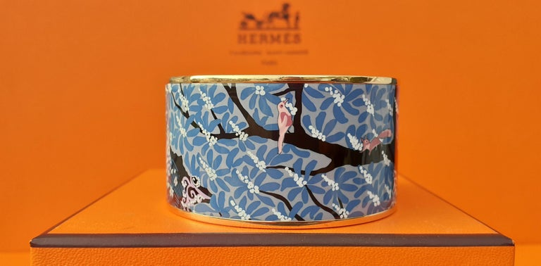 Hermès Enamel Bracelet Dans Un Jardin Anglais Shirley Rosé Ghw Size 65 GRAIL For Sale 3