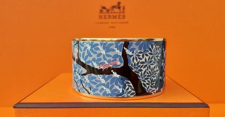Hermès Enamel Bracelet Dans Un Jardin Anglais Shirley Rosé Ghw Size 65 GRAIL For Sale 4