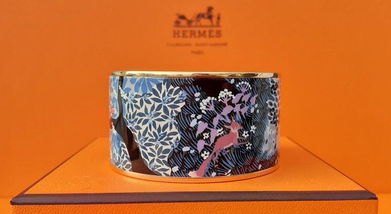 Hermès Enamel Bracelet Dans Un Jardin Anglais Shirley Rosé Ghw Size 65 GRAIL For Sale 5