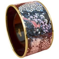 Hermès Enamel Bracelet Dans Un Jardin Anglais Shirley Rosé Ghw Size 65 GRAIL