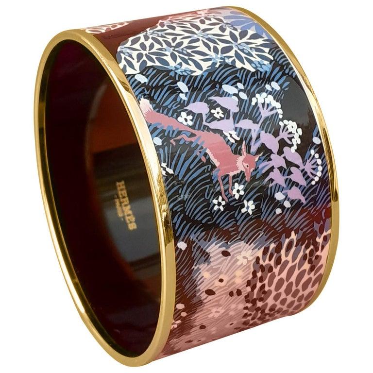 Hermès Enamel Bracelet Dans Un Jardin Anglais Shirley Rosé Ghw Size 65 GRAIL For Sale