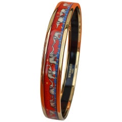 Hermès Enamel Bracelet Elephants Grazing Red Narrow NEW Gold Hdw Size 70