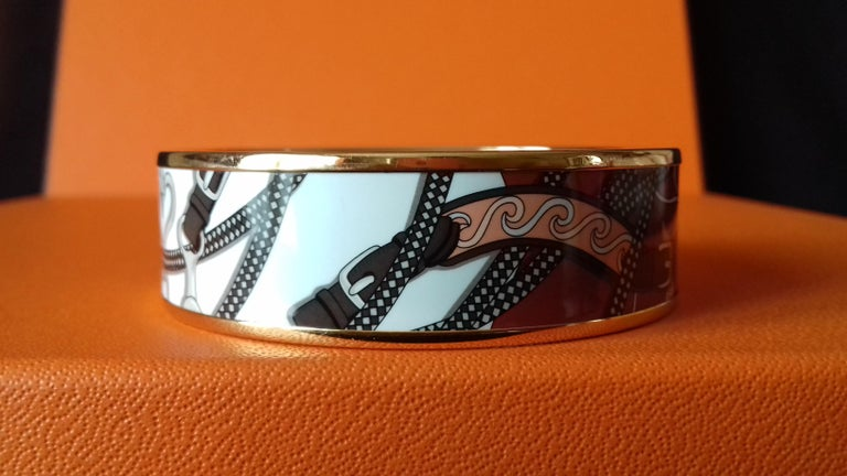 Hermès Enamel Bracelet Festival des Amazones Rose Gold HDW Size 62 1