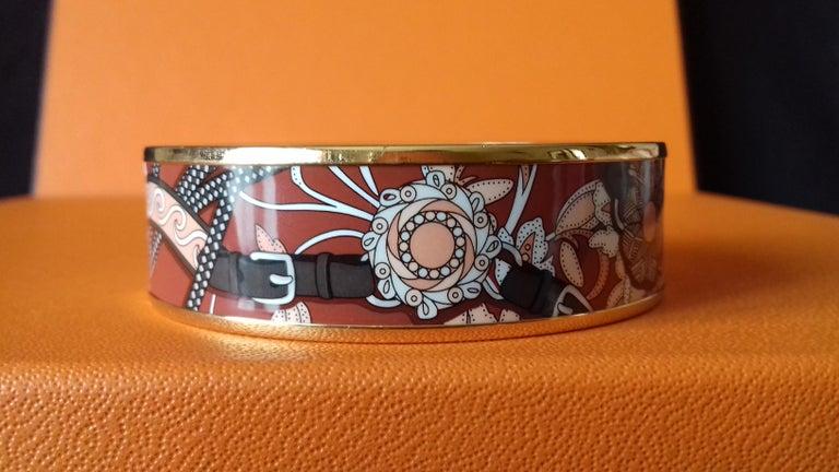 Hermès Enamel Bracelet Festival des Amazones Rose Gold HDW Size 62 2