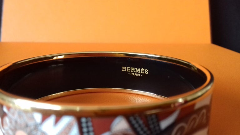 Hermès Enamel Bracelet Festival des Amazones Rose Gold HDW Size 62 3
