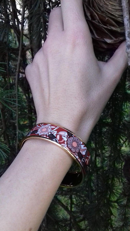 Hermès Enamel Bracelet Festival des Amazones Rose Gold HDW Size 62 5