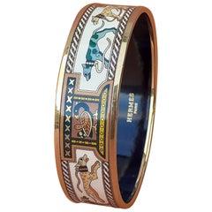 Hermès Enamel Bracelet Greyhound Dogs Levriers Golden Hdw Size GM 70