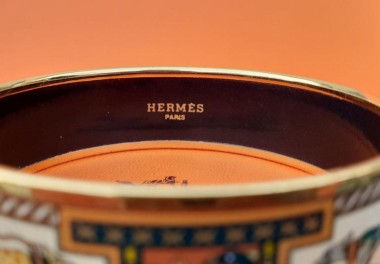 Hermès Enamel Bracelet Greyhound Dogs Lévriers Golden Hdw Size PM 65 For Sale 6