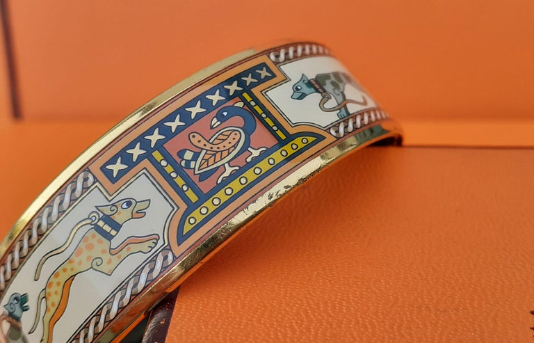 Hermès Enamel Bracelet Greyhound Dogs Lévriers Golden Hdw Size PM 65 For Sale 12
