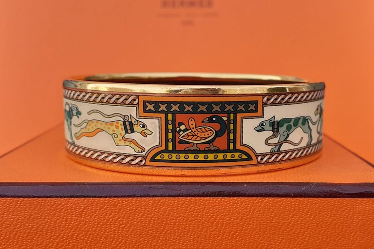 Hermès Enamel Bracelet Greyhound Dogs Lévriers Golden Hdw Size PM 65 For Sale 1