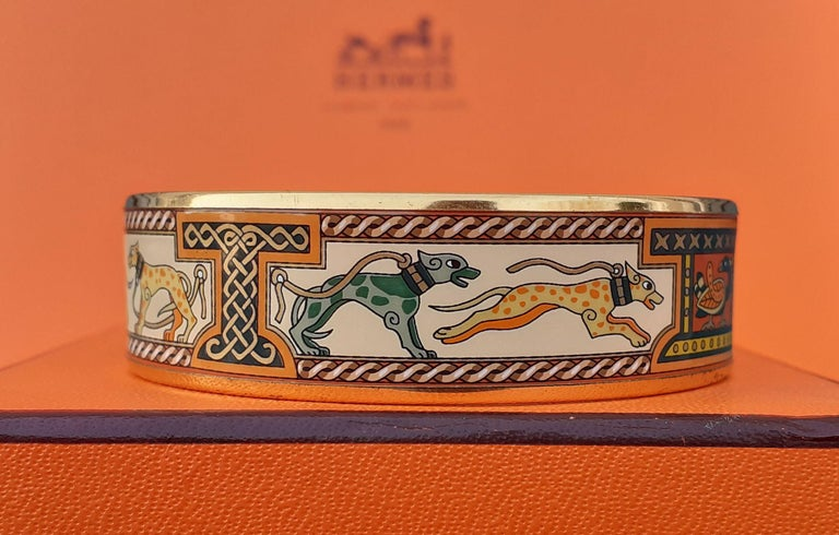 Hermès Enamel Bracelet Greyhound Dogs Lévriers Golden Hdw Size PM 65 For Sale 3