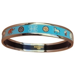 Hermès Enamel Bracelet Indian Spirit Horse Fish Flower Elephant NEW Phw Size 65
