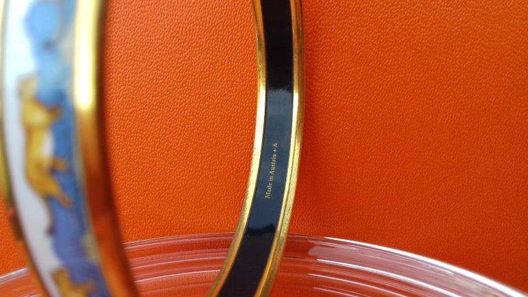 Hermès Enamel Bracelet Lions and Lionesses Narrow Gold Hdw Size PM 65 For Sale 6