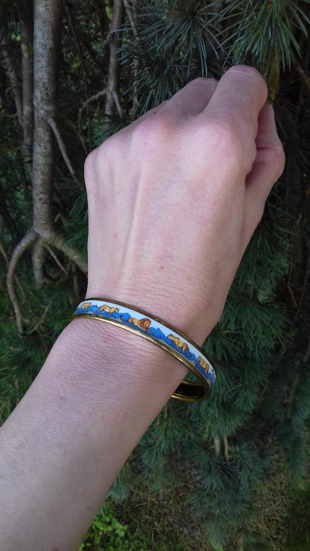 Hermès Enamel Bracelet Lions and Lionesses Narrow Gold Hdw Size PM 65 For Sale 7