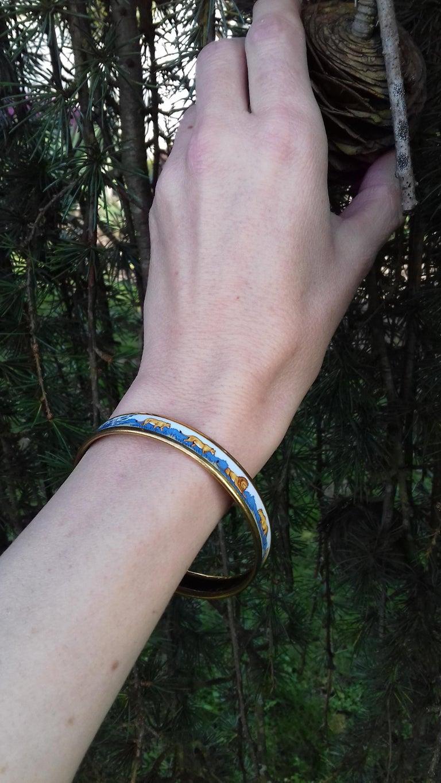 Hermès Enamel Bracelet Lions and Lionesses Narrow Gold Hdw Size PM 65 For Sale 8