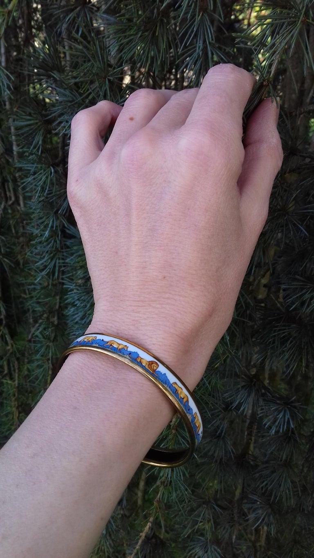 Hermès Enamel Bracelet Lions and Lionesses Narrow Gold Hdw Size PM 65 For Sale 9